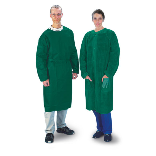 Disposable green gown